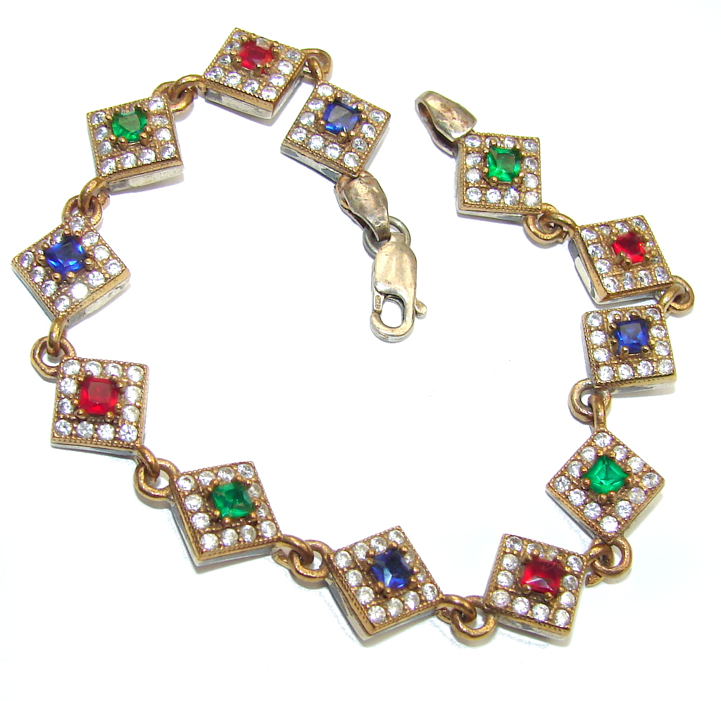 Victorian Style created Ruby &  Emerald White Topaz Sterling Silver Bracelet