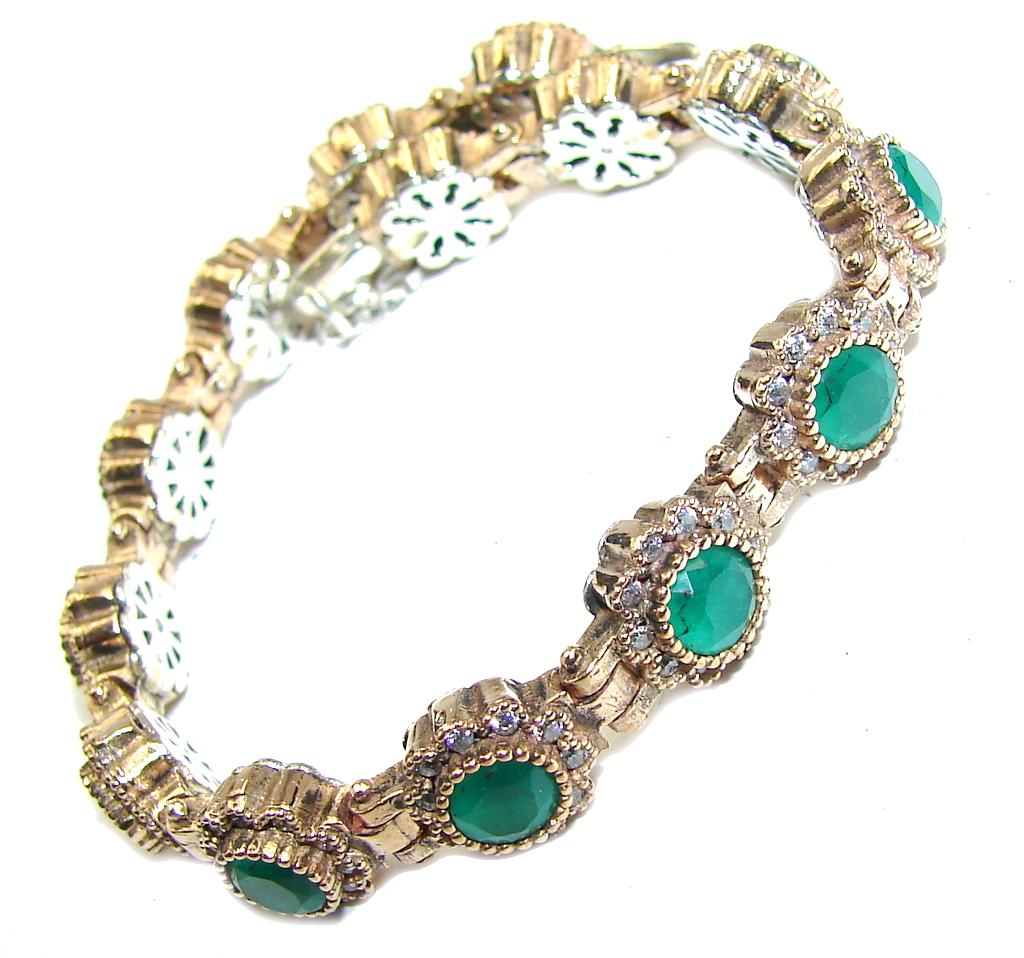Victorian Style created Emerald  White Topaz Sterling Silver Bracelet