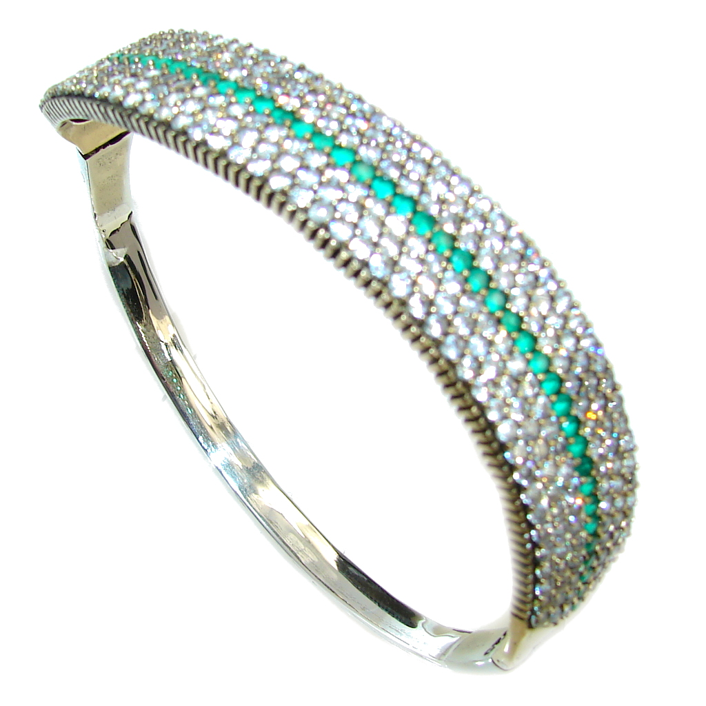 Victorian Style created Emerald & White Topaz Sterling Silver Bracelet Cuff