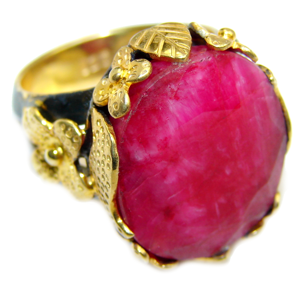 Simple Pink Ruby Gold Rhodium over Sterling Silver Ring s. 8 1/4