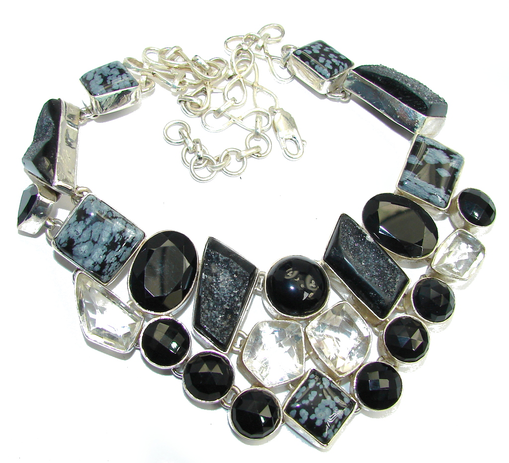 Huge Awesome Snowflake Obsidian Sterling Silver necklace
