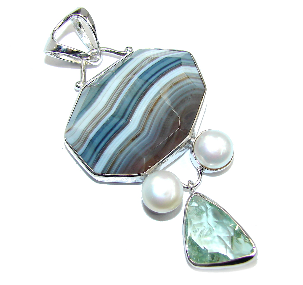 Big Natural AAA Lace Black Botswana Agate Sterling Silver Pendant