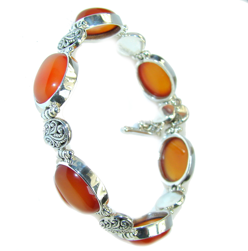 Secret Treasure Orange Carnelian Sterling Silver Bracelet