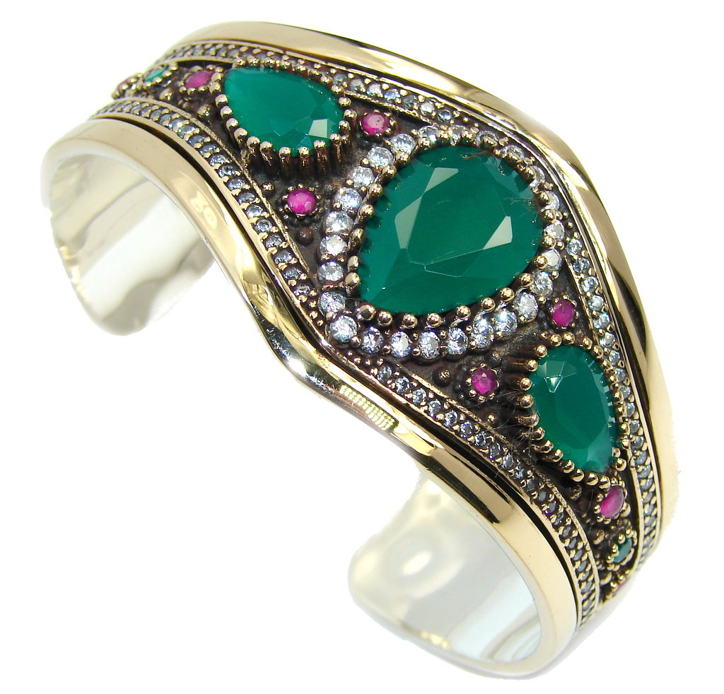 Victorian Style created Green Emerald & Ruby & White Topaz Sterling Silver Bracelet / Cuff