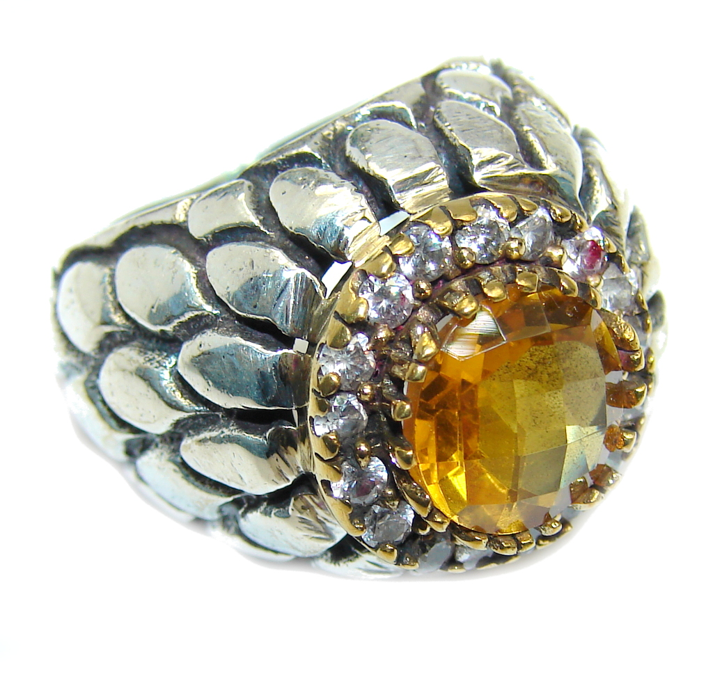 Amazing Genuine Citrine  Oxidized Sterling Silver ring s. 7 1/4