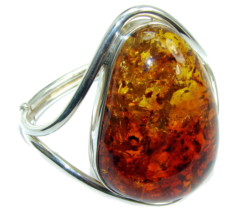 Huge Handcrafted AAA Russian Amber Sterling Silver Bracelet / Cuff