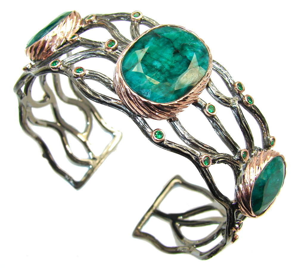 Green Island faceted  Emerald Sterling Silver Bracelet / Cuff
