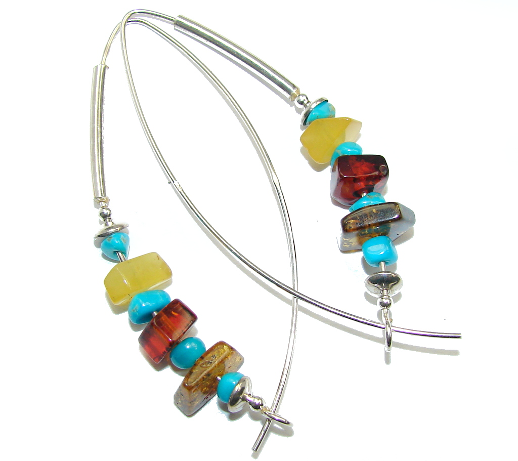 Genuine Long Baltic Polish Amber Sleeping Beauty Turquoise Sterling Silver E..