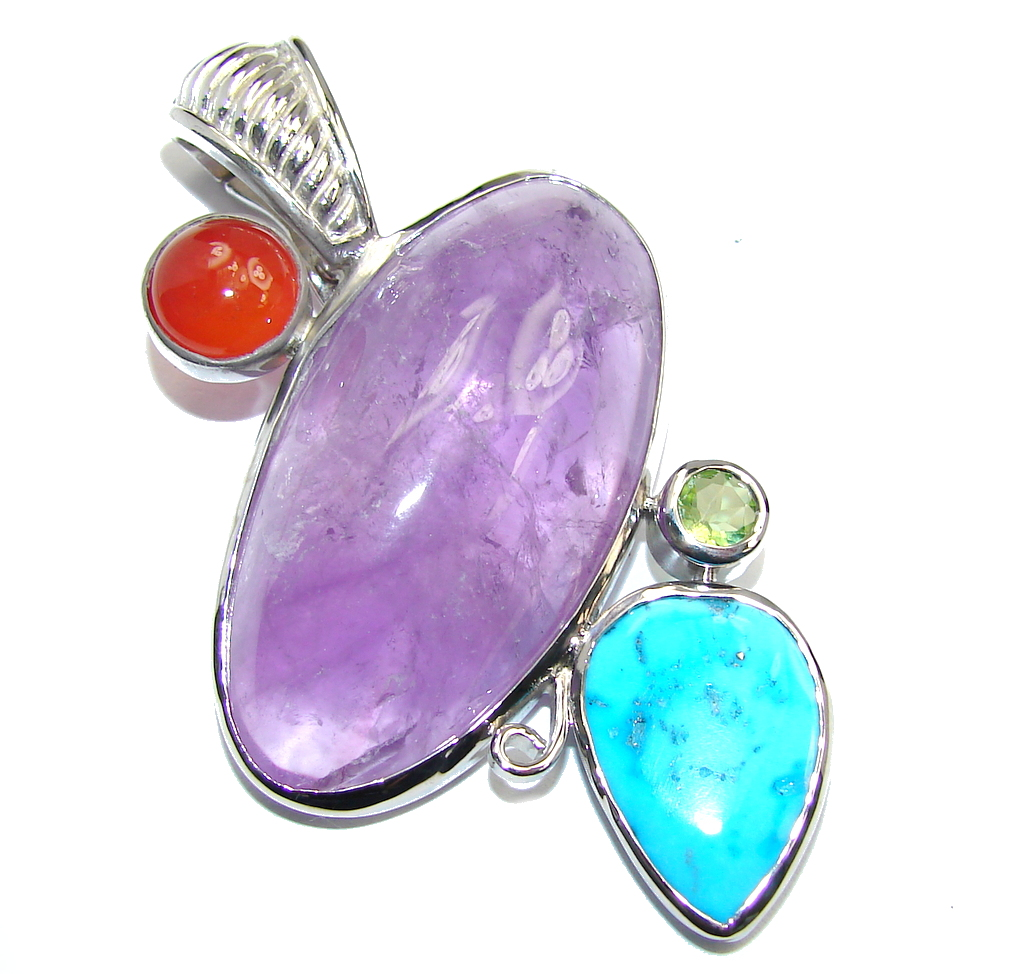 Big Natural AAA African Amethyst Sleeping Beauty Turquoise Sterling Silver Pendant