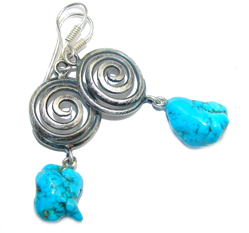 Spirit of South West Slepping Beauty Turquoise Sterling Silver earrings