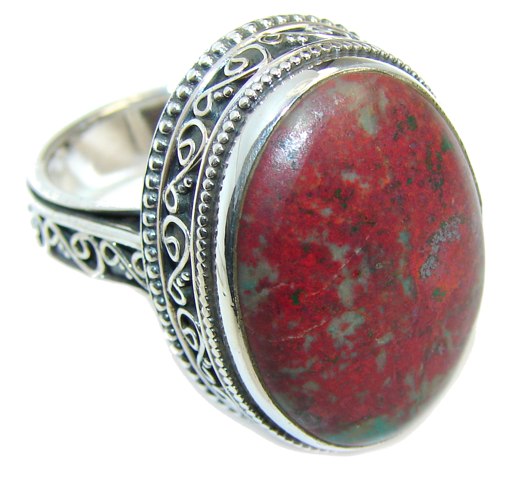 Big Perfect Red Sonora Jasper  Sterling Silver Ring s. 9