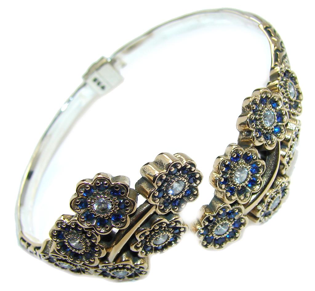 Vintage Style Sapphire Quartz Copper Plated Sterling Silver Bracelet / Cuff