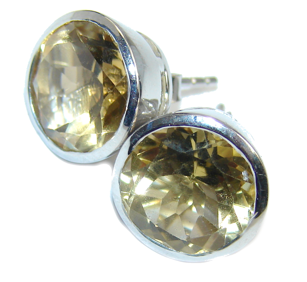 Amazing Yellow Citrine Sterling Silver Earrings