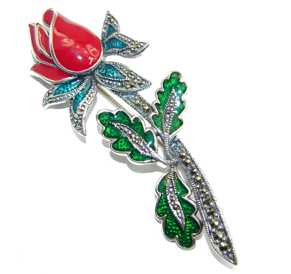 Beautiful  Red  Rose  Pearl Mass Marcasite Sterling Silver pendant-pin