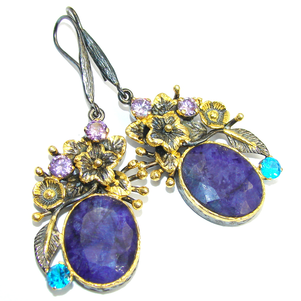 Blooming Garden Blue Sapphire Gold Black Rhodium over Sterling Silver earrings