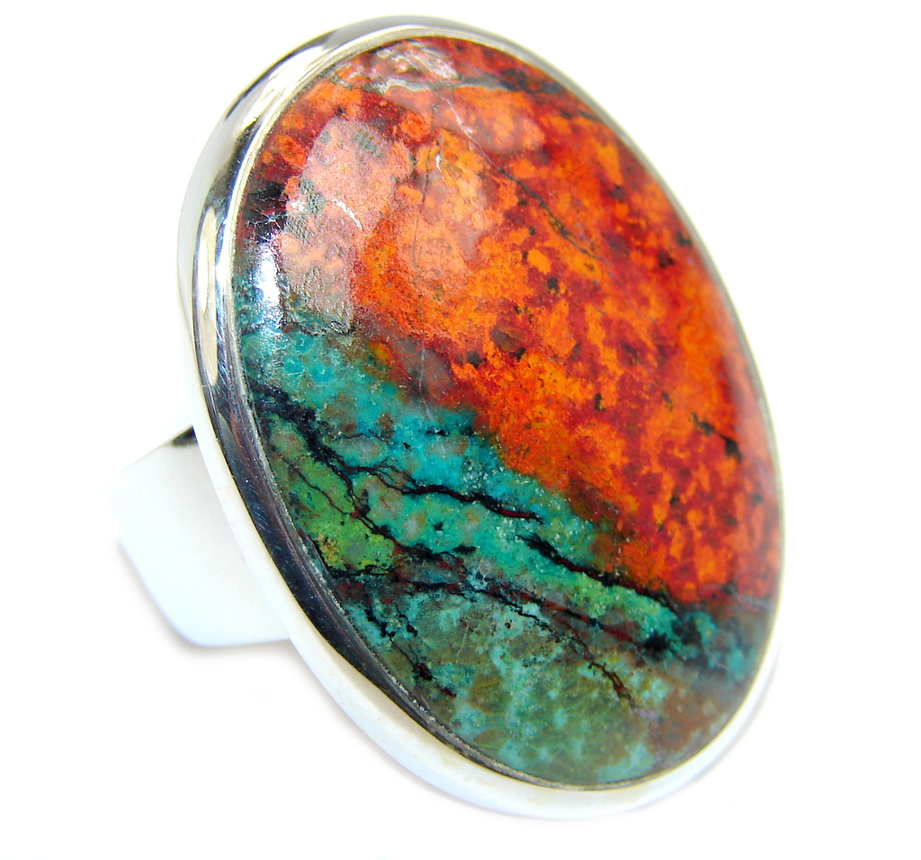 Big Perfect Red Sonora Jasper  Sterling Silver Ring s. 6 1/2