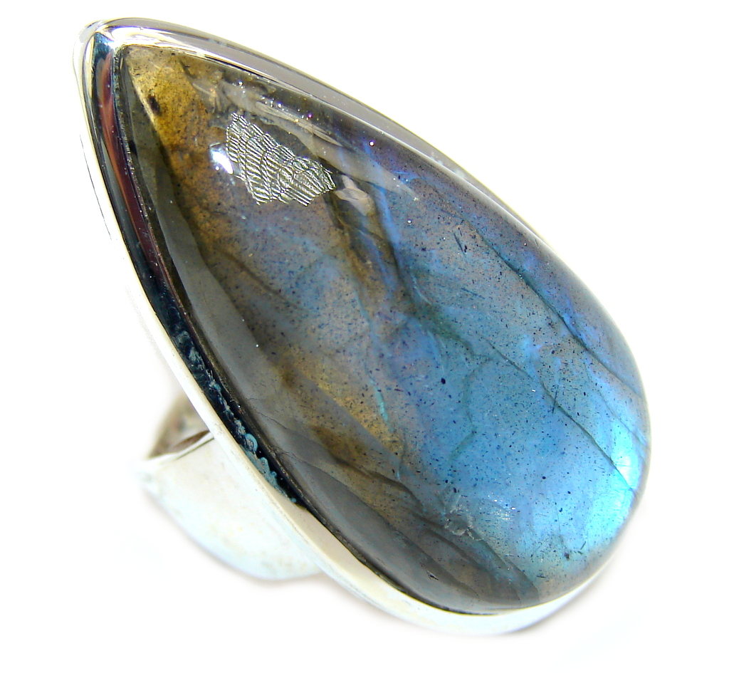 Just Perfect Blue Fire Labradorite Sterling Silver ring s. 7 1/4