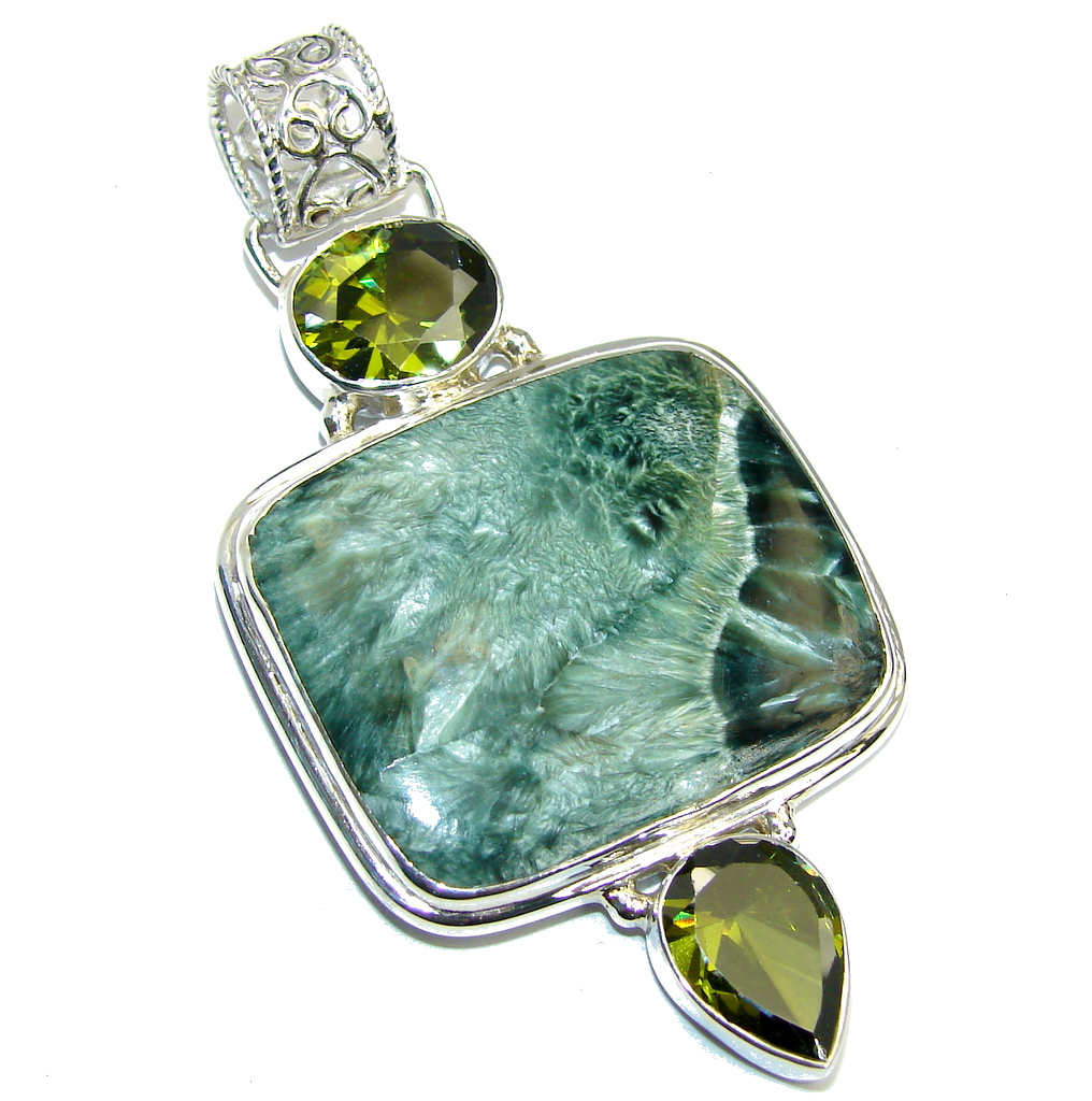 Amazing AAA Russian Green Seraphinite Sterling Silver Pendant