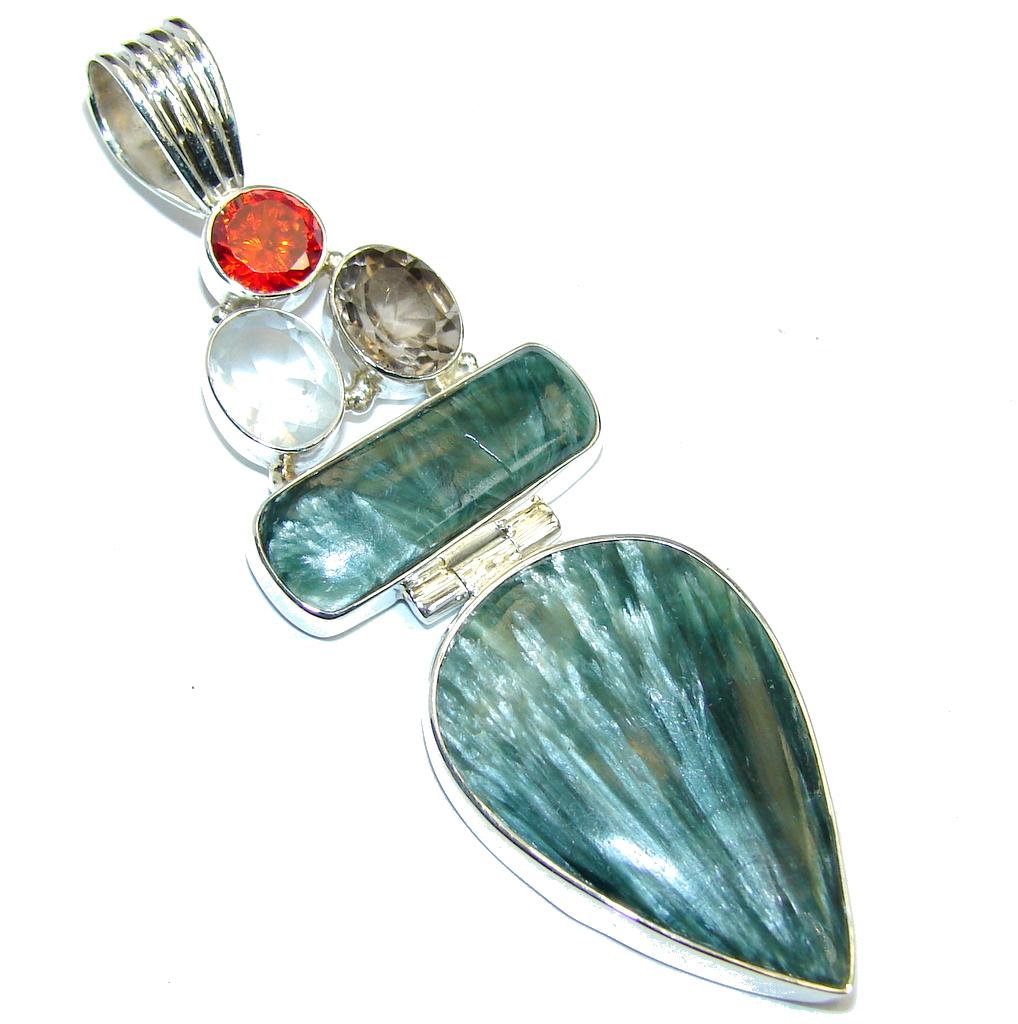 Amazing  Russian Green Seraphinite Sterling Silver Pendant