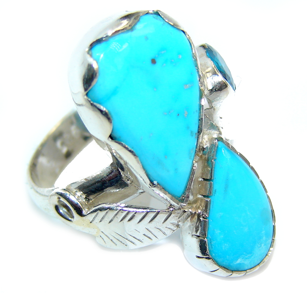 Classic Sleeping Beauty Turquoise Sterling Silver Ring s. 8