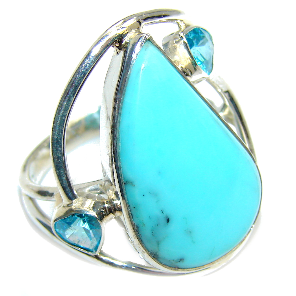Amazing  Sleeping Beauty Turquoise Sterling Silver Ring s. 9