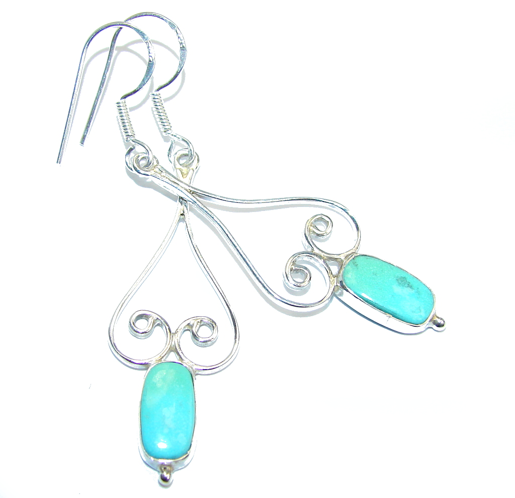 Lime Clover genuine Turquoise & Silver Sterling earrings