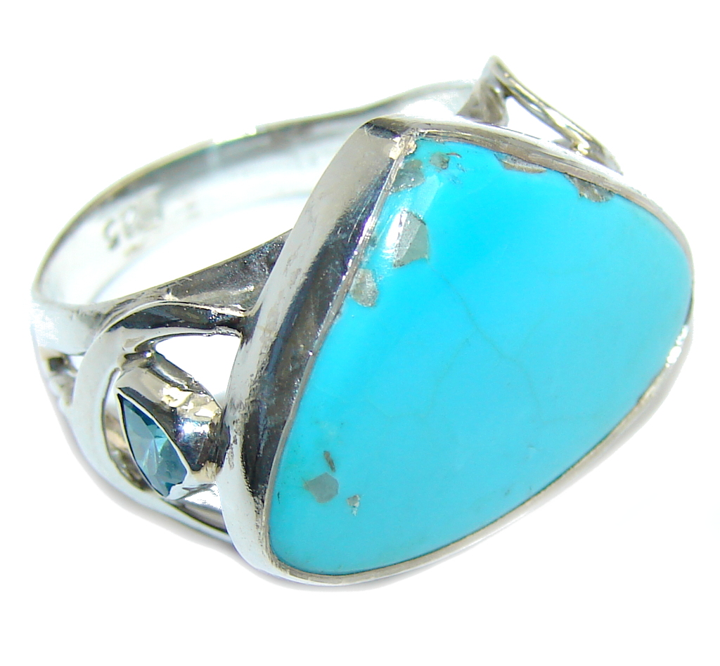 Amazing  AAA  Sleeping Beauty Turquoise Sterling Silver Ring s. 9