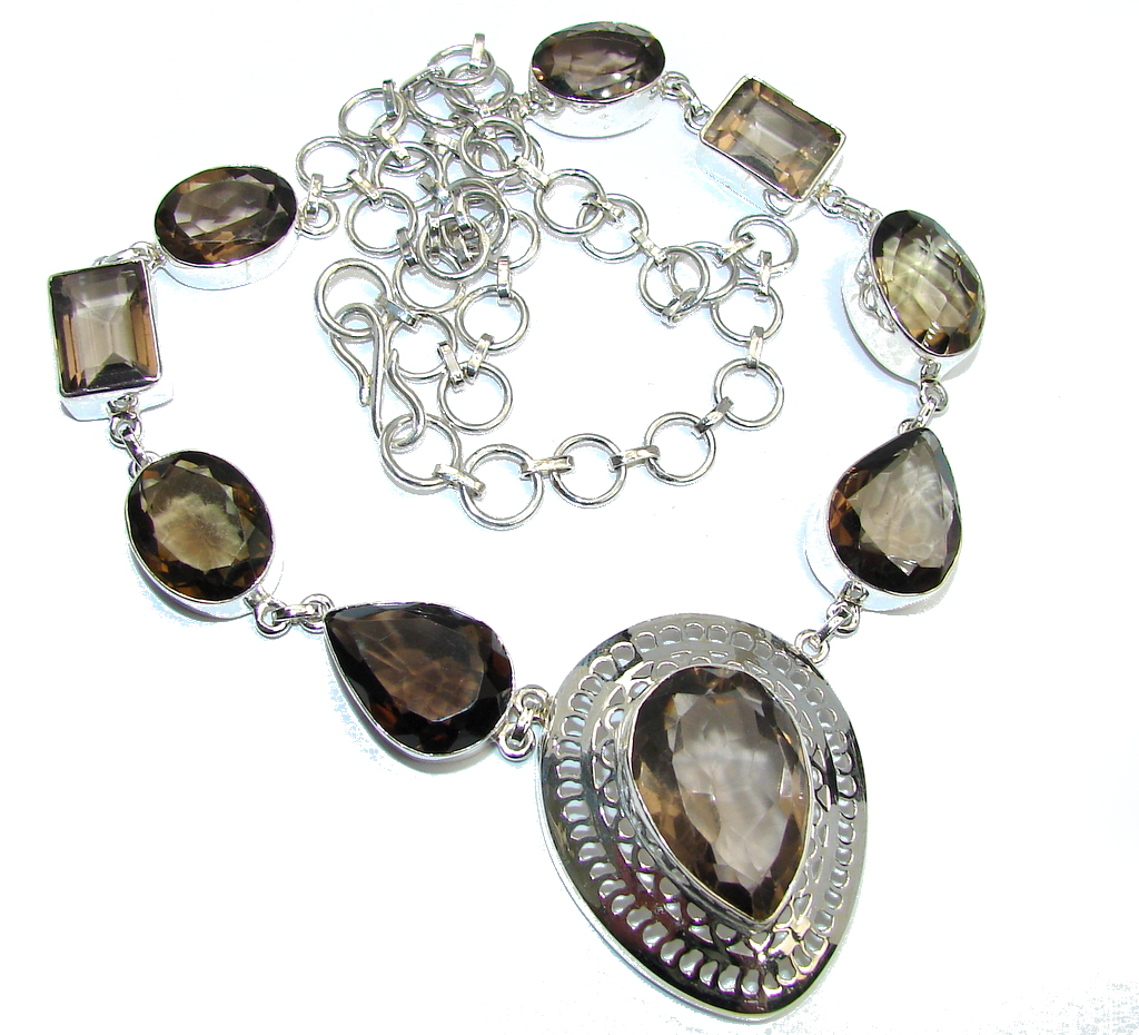 Beautiful India Charm Champagne Smoky Topaz Sterling Silver necklace