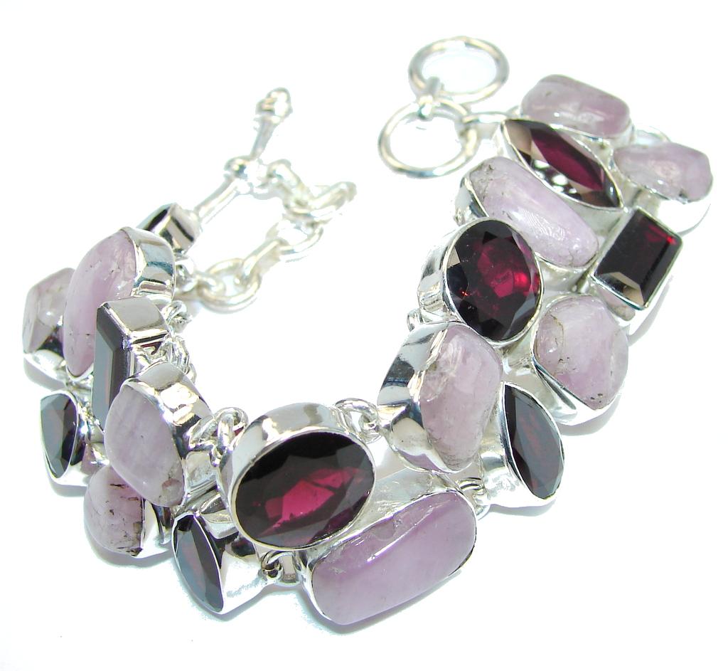 Lavender Beauty Purple Sugalite & Garnet Sterling Silver Bracelet