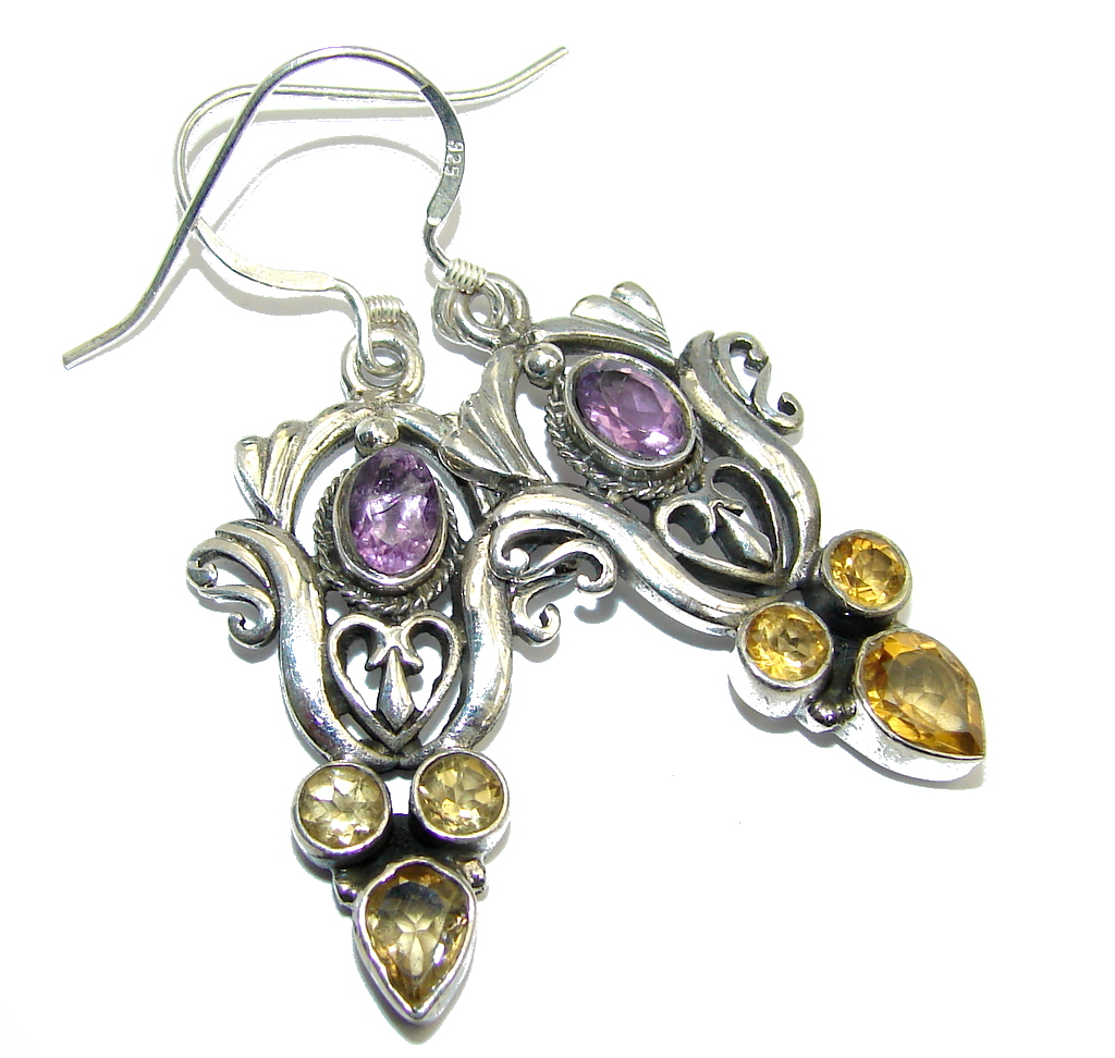Bali Swirl Amethyst Citrine Sterling Silver earrings