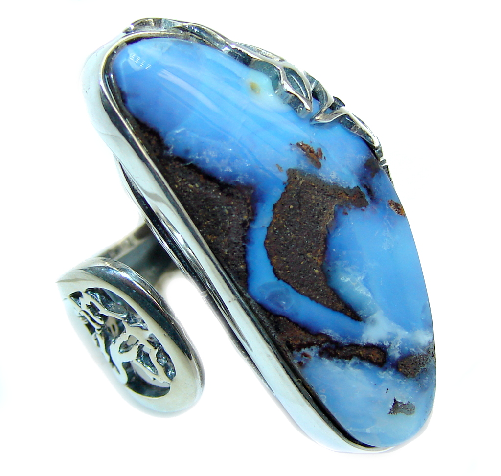 Amazing AAA Australian Boulder Opal Sterling Silver Ring s. 8 1/2 adjustable