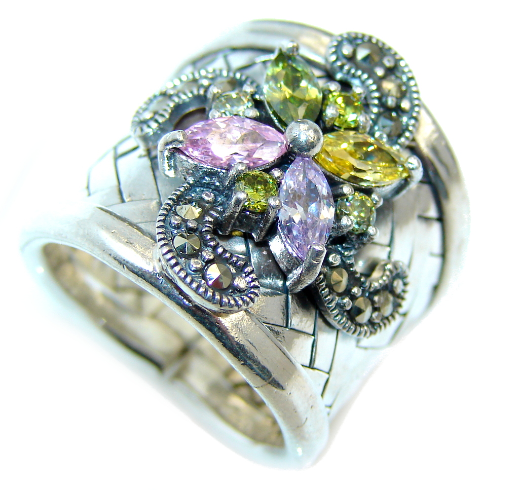 marcassite.com view the photo of  Excellend Pink Cubic Zirconia Sterling Silver Ring s. 6 1/2 adjustable