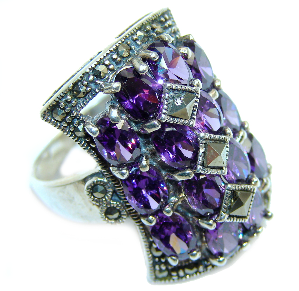 marcassite.com view the photo of  Excellend Pink Cubic Zirconia Marcasite Oxidized Sterling Silver Ring s. 8 3/4