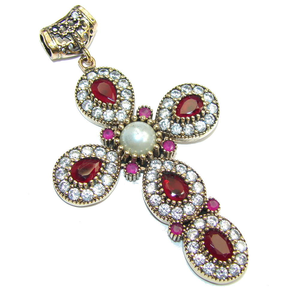 Big Victorian Style created  Ruby & White Topaz Sterling Silver Pendant / Cross