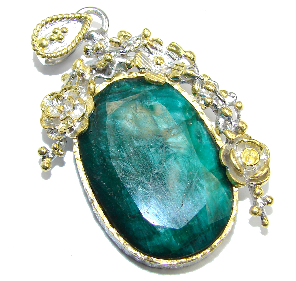 Poison Ivy Emerald Two Tones Sterling Silver Pendant