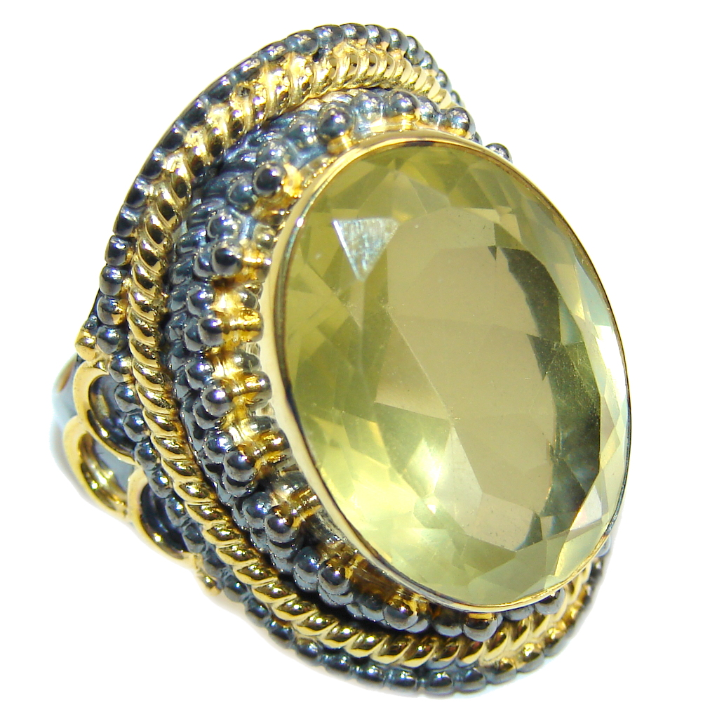 Big Summer Yellow Citrine Gold Rhodium plated over Sterling Silver Ring s. 9