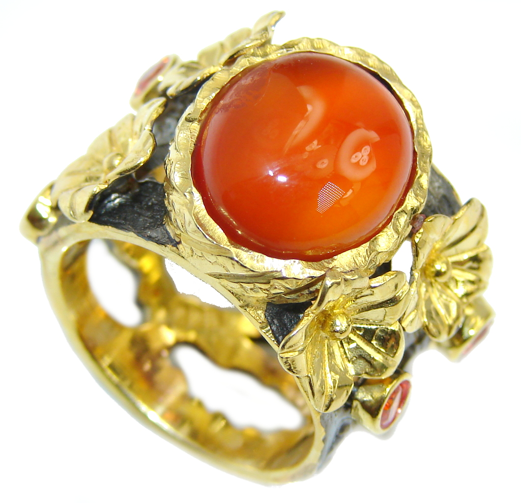 Precious Orange Carnelian Gold Rhodium plated Sterling Silver ring s. 8