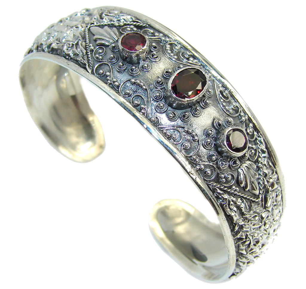 Bali Secret Red Garnet Sterling Silver Bracelet / Cuff