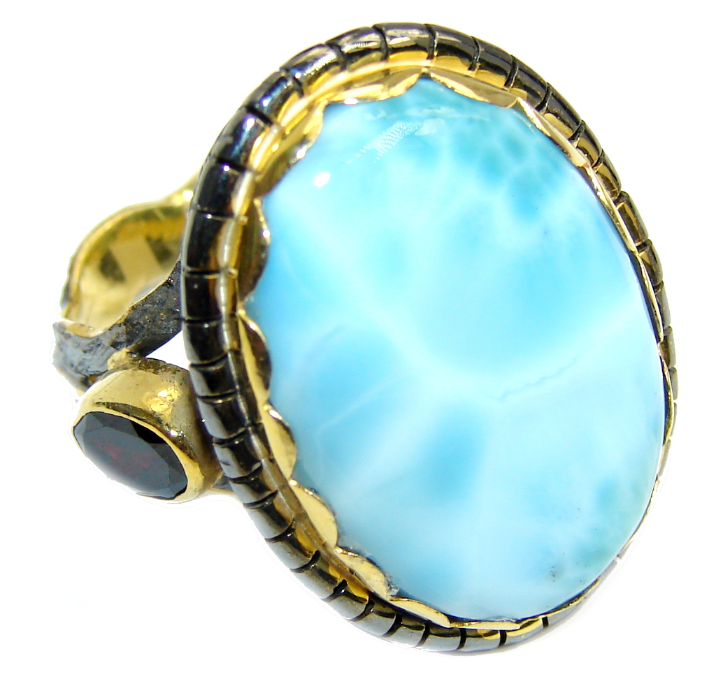 Amazing AAA Blue Larimar Gold Rhodium plated over Sterling Silver Ring s. 8 1/2