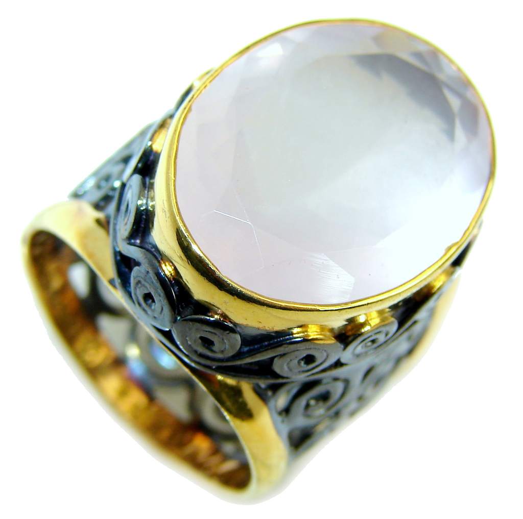 Beautiful AAA Rose Quartz  Gold Rhodium Plated over Sterling Silver Ring s. 7 1/4