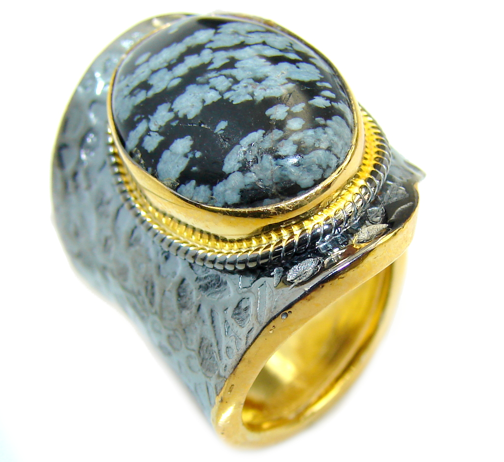 Black Snowflake Obsidian Gold Rhodium plated over Sterling Silver ring s. 7 adjustable