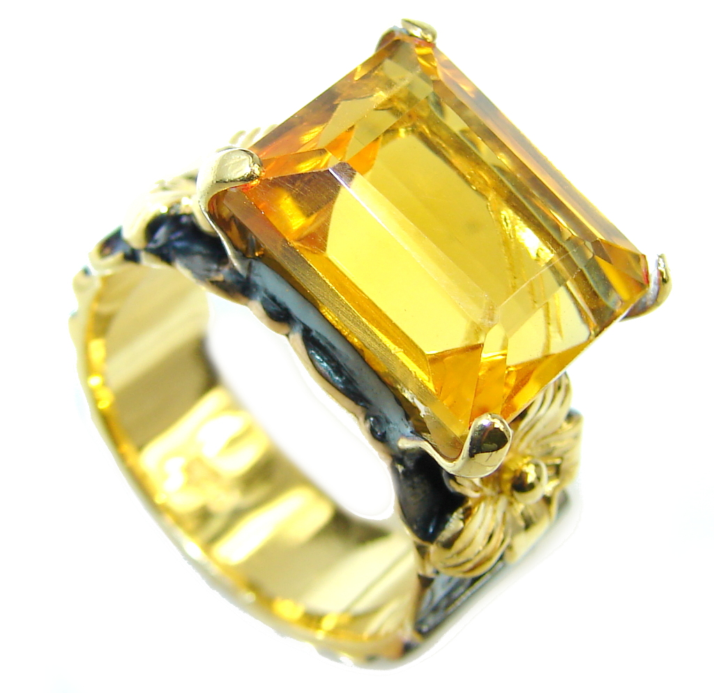 Citrine  Gold Rhodium plated over Sterling Silver Handcrafted Ring s. 7