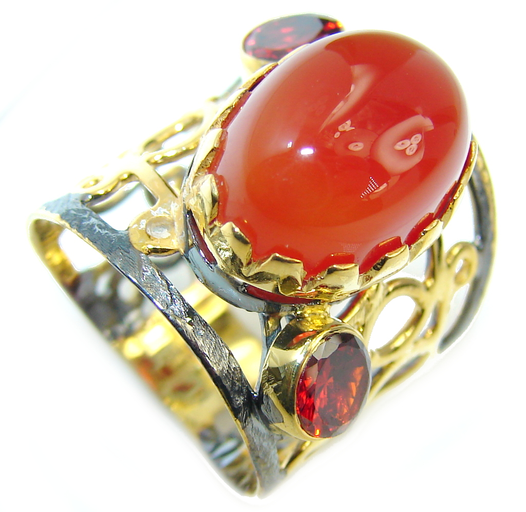 Mesmerizing Carnelian Gold Plated Sterling Silver ring Size 6
