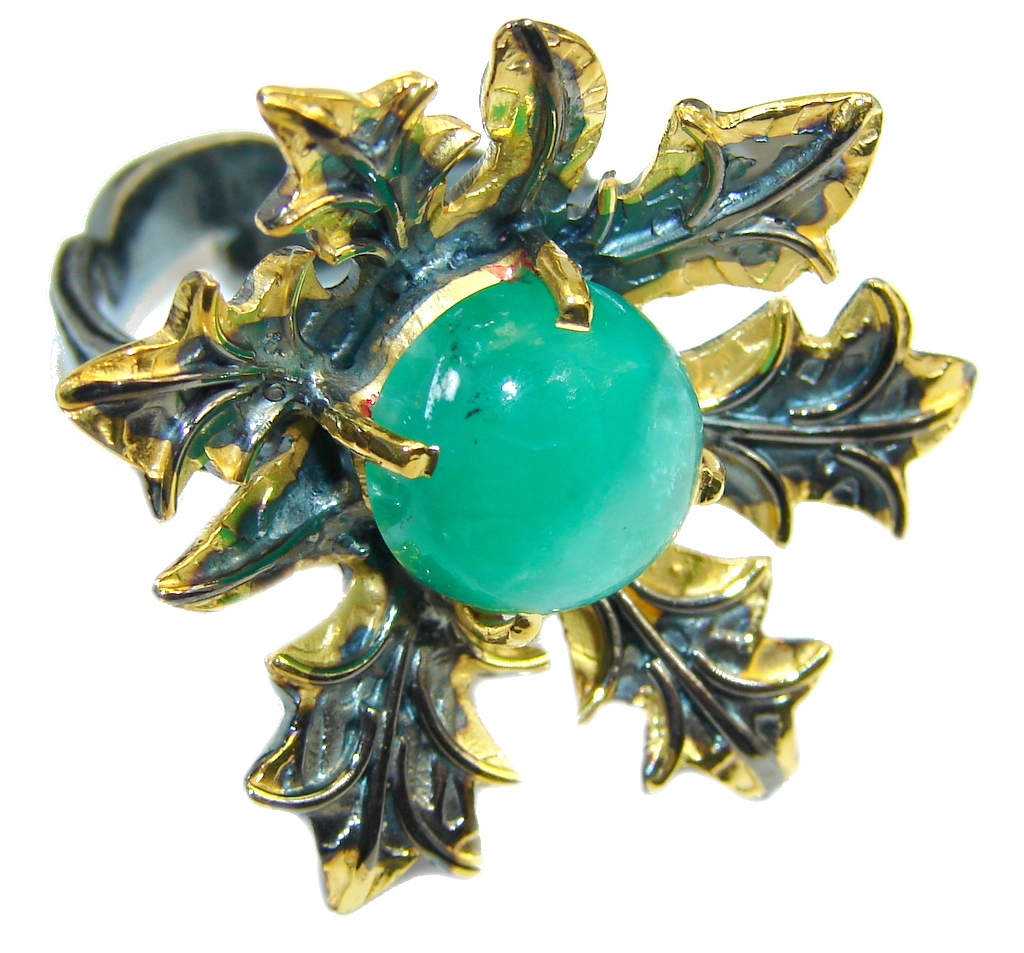 Gorgeous Green Chrysophrase Gold Rhodium plated over Sterling Silver Ring s. 7