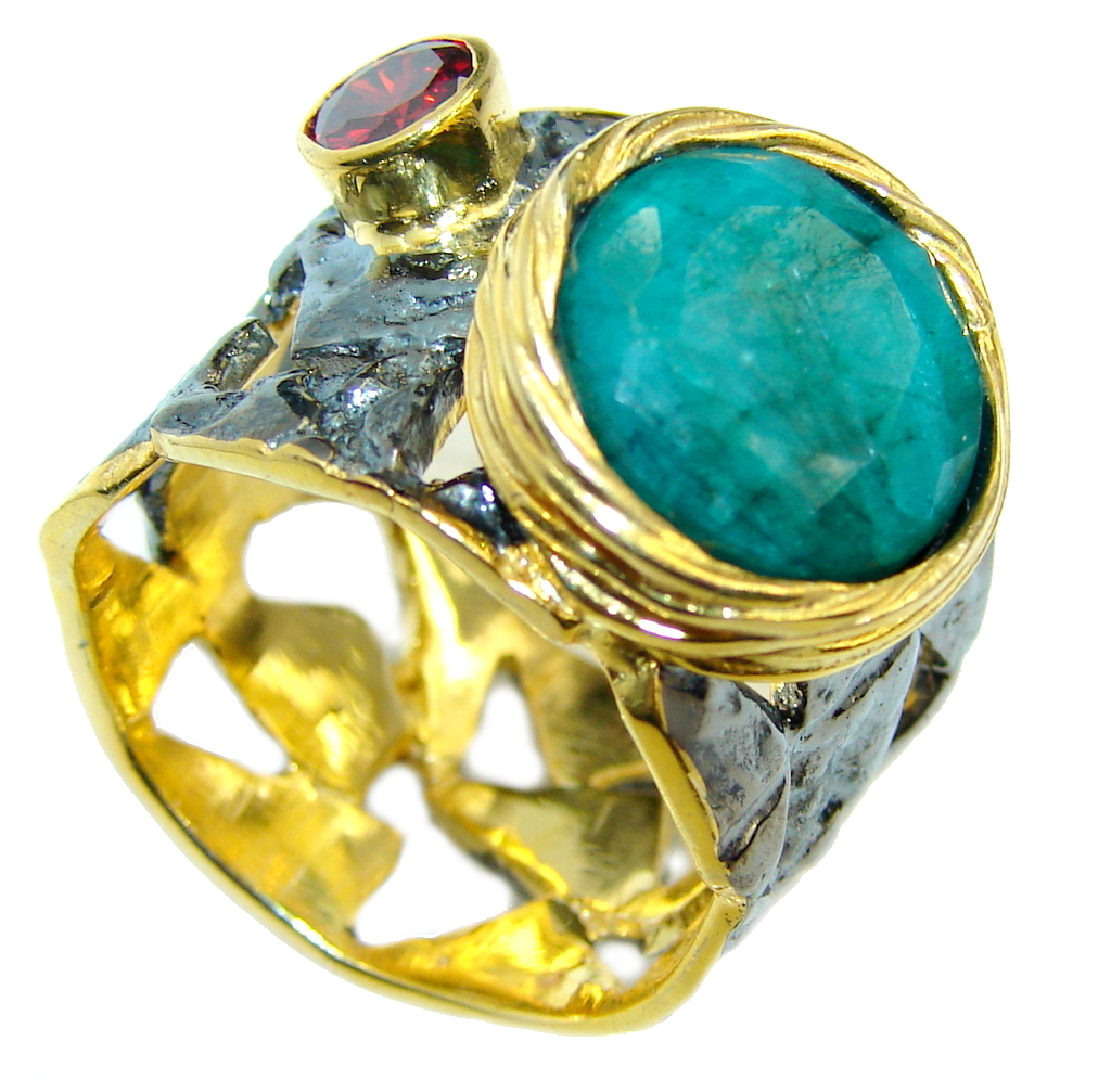 Perfect  Green Emerald Gold Rhodium obver Sterling Silver Ring s. 8