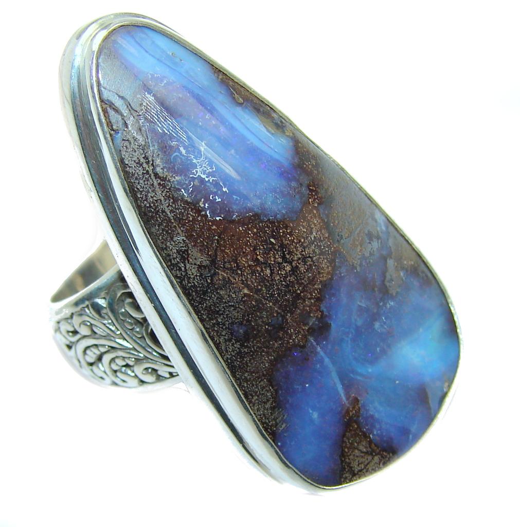 Amazing  Australian Boulder Opal Sterling Silver Ring s. 8 3/4