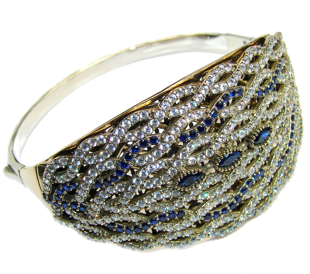 Vintage Style created Sapphire  Sterling Silver Bracelet / Cuff