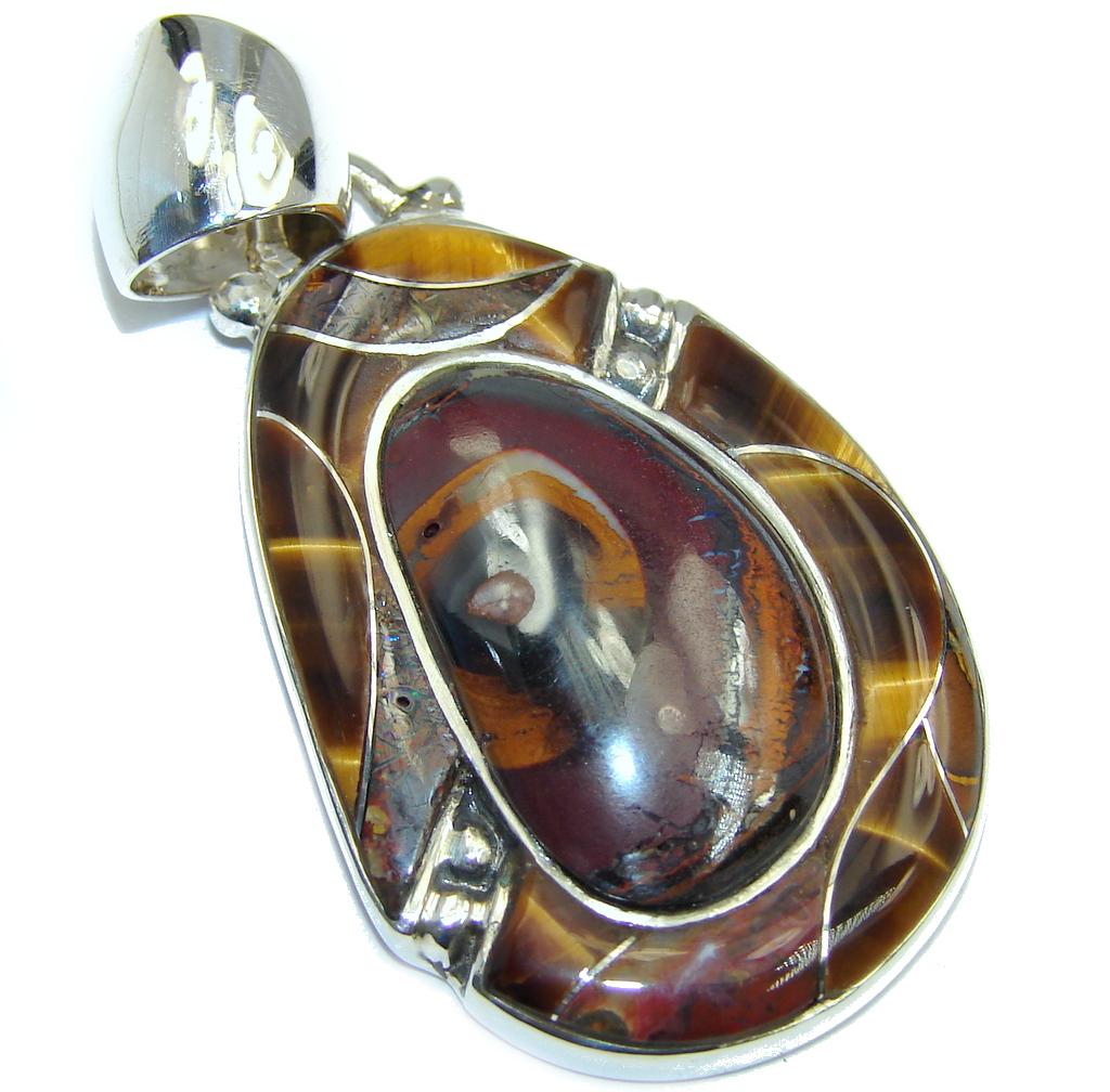 Amazing AAA Koroit Opal & Tigers Eye Sterling Silver Pendant