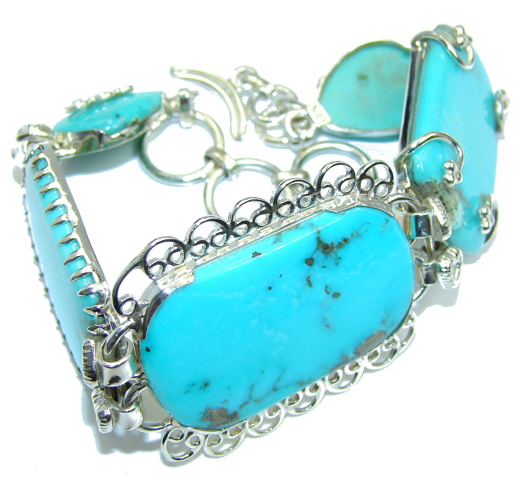 Amazing Corrico Lake Blue Turquoise Sterling Silver Bracelet