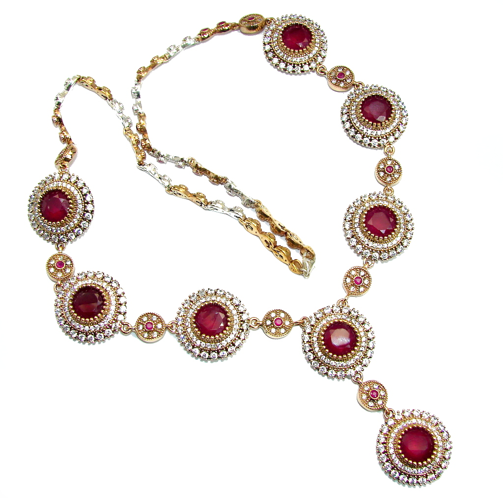 Giant Victorian Style created Ruby & White Topaz Sterling Silver necklace